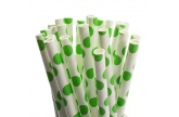49 pms7488u large green polka dot paper straws x 25 1098975591
